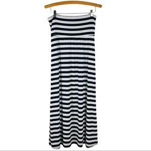 Azules black white striped maxi stretchy skirt